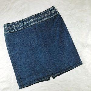 LOFT | denim pencil skirt w/embroidered waistband
